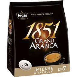 Dosettes de café Grand Arabica 1851, intense & velou...
