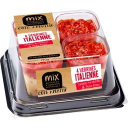 Verrines italienne tomates mi-séchées & pesto rosso
