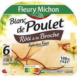 Fleury Michon Fleury Michon Blanc de poulet rôti à la broche la barquette de 6 tranches - 180g