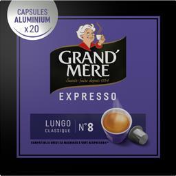 Grand'Mère Grand'Mère Capsules de café moulu Expresso Lungo Classique le sachet de 20 capsules - 104 g