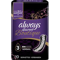 Always Always Discreet Boutique - Serviettes pour fuites urinaires Normal le paquet de 10 serviettes