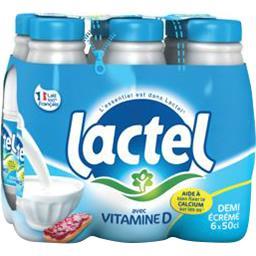 Lactel Lactel Lait demi-écrémé U.H.T. avec vitamine D les 6 bouteilles de 50 cl