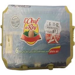 L'œuf de rey Oeufs de poules élevées en plein air LABEL ROUGE cal... La boite de 6