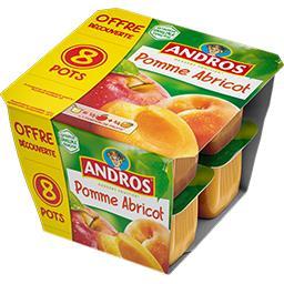 Andros Andros Dessert fruitier pomme-abricot les 8 pots de 100 g - offre découverte