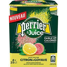 Perrier Perrier Perrier & Juice - Boisson gazeuse citron & goyave les 4 canettes de 25 cl