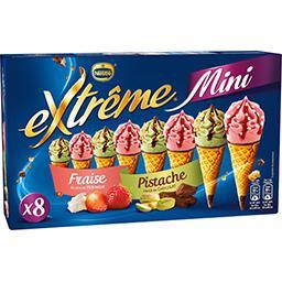 Mini cônes fraise meringue et pistache chocolat