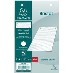 Fiches bristol blanches perforées 125x200 5x5 205 g