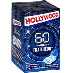 Hollywood Hollywood 60 min de Fraîcheur - Chewing-gum menthe forte sans sucres les 3 boites de 10 dragées - 60 g
