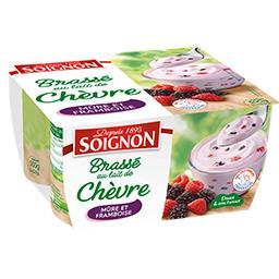 Soignon Soignon Yaourt brassé au lait de chèvre mûres et framboises les 4 pots de 125 g