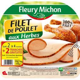 Fleury Michon Filet de poulet aux herbes le barquettes de 4 tranches - 300 g