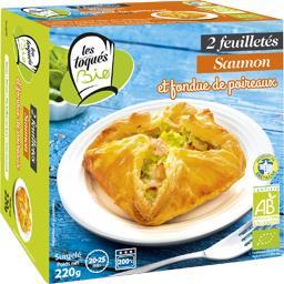Les Toqués Bio Feuilletés saumon et fondue de poireaux BIO la boite de 2 - 220 g