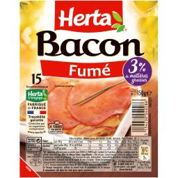 Herta Herta Bacon fumé la barquette de 15 tranches - 150 g