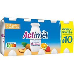 Danone Danone Actimel - Lait fermenté à boire goût multifruits les 10 bouteilles de 100 g
