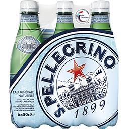 San Pellegrino San Pellegrino Eau minérale naturelle pétillante, avec adjonction de gaz carbonique les 6 bouteilles de 50cl soit 3L