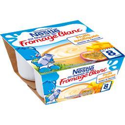 Nestlé Nestlé Bébé P'tit Onctueux - Fromage blanc fruits exotiques, 8+ mois les 4 pots de 100 g