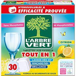 L'Arbre Vert L'Arbre Vert Tablettes lave-vaisselle tout en 1 citron les 30 tablettes de 18,25 g