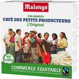Malongo Dosettes de café petits producteurs L'Original pur a...