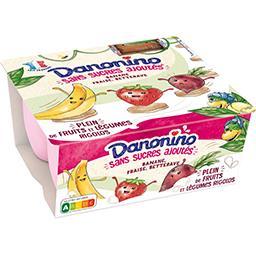 Danone Danonino Spécialité laitière fruits & légumes sans sucres ajoutés les 4 pots de 90 g