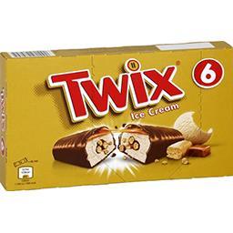 Twix Twix Barres glacées caramel biscuit chocolat au lait les 6 barres de 43,1 ml