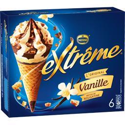 Nestlé Extrême L'Original - Cônes vanille pépites de nougatine la boite de 6 - 426 g