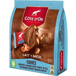 Carrés chocolat lait amandes caramélisées pointe de sel
