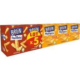 Belin Belin Assortiment de crackers Monaco emmental & feuilleté emmental le lot de 5 boites - 470 g
