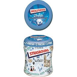 Hollywood Hollywood 2Fresh - Chewing-gum menthe fraîche/menthe forte sans sucres la boite de 88 g