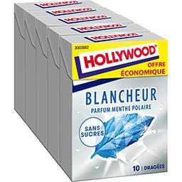 Hollywood Hollywood Chewing-gum Blancheur menthe polaire sans sucres les 5 boites de 14 g - Offre Economique