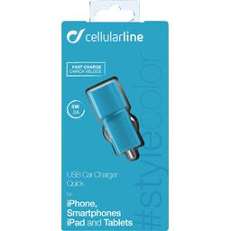 Micro chargeur allume cigare USB 2A bleu