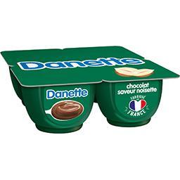 Danone Danone Danette - Crème dessert chocolat saveur noisette les 4 pots de 125 g