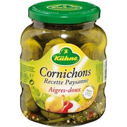 Cornichons aigres-doux, Recette Paysanne,KUHNE,le bocal de 185 gr égoutté