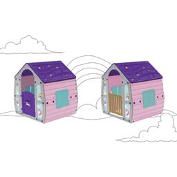 Maison d'enfant avec porte et volet décor licorne