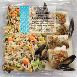 Cabillaud duo de riz & printanière de légumes