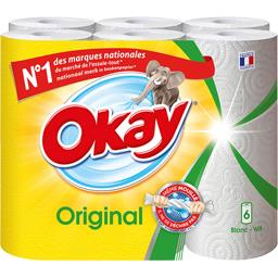 Okay Okay Original - Essuie-tout blanc les 6 rouleaux