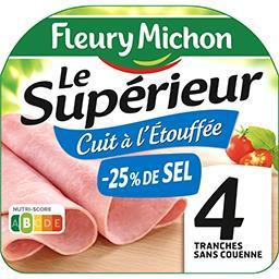 Fleury Michon Fleury Michon Jambon cuit à l'étouffée sans couenne sel réduit la barquette de 4 tranches - 160 g