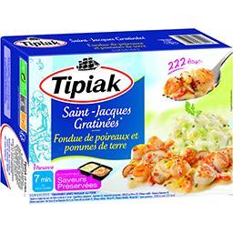 Saint-Jacques gratinées, fondue poireaux et pommes d...