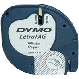 LetraTag - Ruban papier blanc pour étiqueteuse - 12mm,