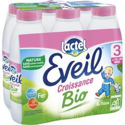 Lactel Lactel Eveil Lait liquide BIO, de 10 mois à 3 ans les 6 bouteilles de 1 l