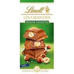 Lindt Lindt Les Grandes - Chocolat au lait fourré praliné noisettes la tablette de 225 g