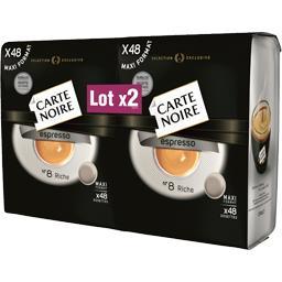 Carte Noire Dosettes de café moulu Espresso n° 8 riche les 2 paquets de 336 g