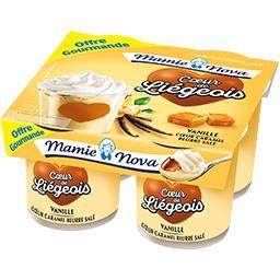 Mamie Nova Gourmand - Cœur de Liégeois vanille cœur caramel beu... les 4 pots de 120 g -