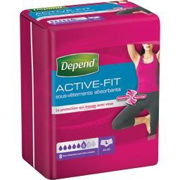 Depend Depend Sous-vêtements absorbants Active-Fit taille L : 44-50 le paquet de 8