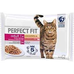 Perfect Fit Perfect fit Adult 1+ - Pâtée bœuf et poulet en sauce pour chats les 4 sachets de 85 g