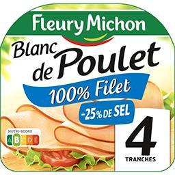 Fleury Michon Fleury Michon Blanc de poulet réduit en sel la barquette de 4 tranches - 160g