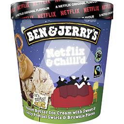 Ben & Jerry's Ben & Jerry's Glace Netflix & Chilll'd au beurre de cacahuète, bretzel sucré-salé et morceaux de brownie le pot de 465ml