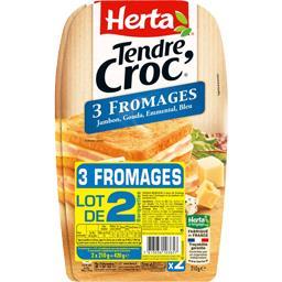 Herta Herta Tendre Croc' - Croque-monsieur 3 fromages le lot de 2 barquettes de 210 g