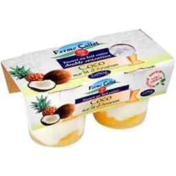 Yaourt brassé sucré au lait entier, coco sur lit d'ananas