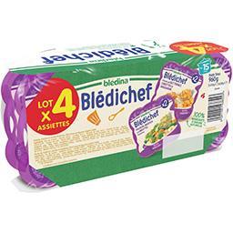 Blédina Blédina Blédichef - Assortiment butternut carottes/polenta brocolis, dès 15 mois le lot de 4 barquettes - 960 g