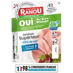 Monique Ranou Jambon supérieur réduit en sel la barquette de 2 tranches - 80 g