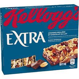 Kellogg's Kellogg's Extra - Barre généreuse amande grillées et chocolat au lait les 4 barres de 32 g